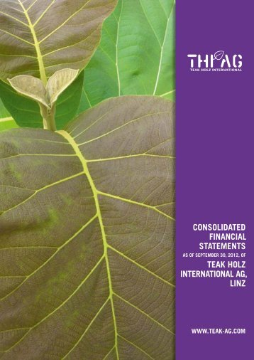 COnsOLIDAteD FInAnCIAL stAtements teAk hOLZ InternAtIOnAL AG ...