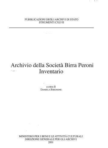 Archivio della Società Birra Peroni. Inventario - Sistema Archivistico ...