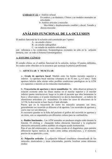 UNIDAD N° 12: a- Análisis oclusal