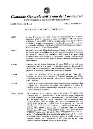 Decreto e graduatoria - Arma dei Carabinieri