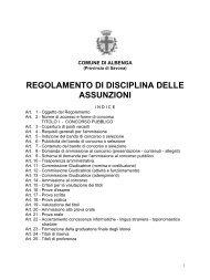 regolamento di disciplina delle assunzioni - Comune Albenga