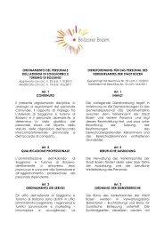 Dienstordnung für das Personal - Bolzano