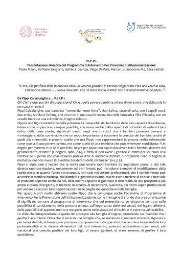 progetto P.I.P.P.I. - Dipartimento di Scienze dell'Educazione
