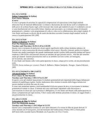 SPRING 2012—CORSI DI LETTERATURA E CULTURA ITALIANA
