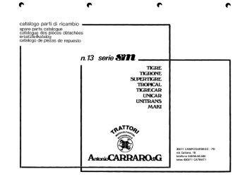 Catalogo ricambi serie SM - trattori Antonio Carraro