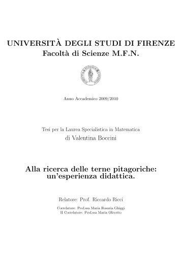 Tesi di Laurea di Valentina Boccini - Dipartimento di Matematica e ...