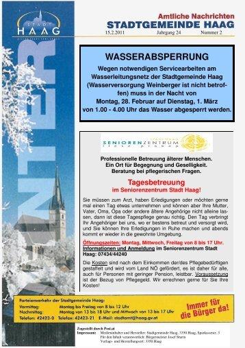 WASSERABSPERRUNG Wegen notwendigen ... - Gemeinde Haag