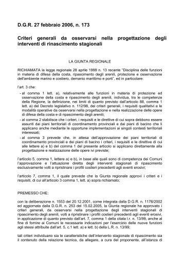 D.G.R. 27 febbraio 2006, n. 173 Criteri generali da ... - ARPAL