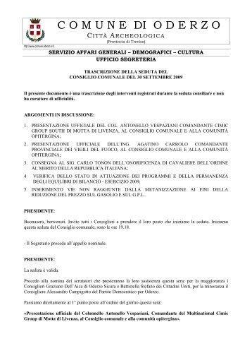 30 settembre - Comune di Oderzo