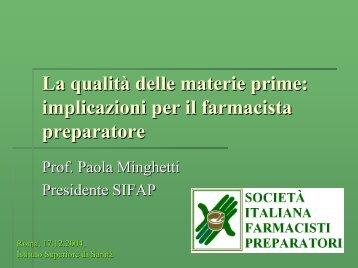Interventi - IV Sessione P. MINGHETTI - Istituto Superiore di Sanità