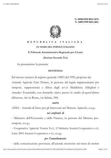 Sentenze Tar Lazio mettono in dubbio criteri di ... - A.Pro.La.V.