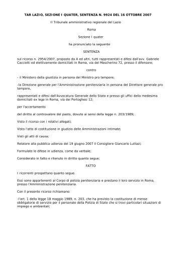TAR LAZIO, SEZIONE I QUATER, SENTENZA N. 9924 ... - Ristretti.it