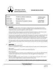 Wellington Catholic District School Board BOARD REGULATION