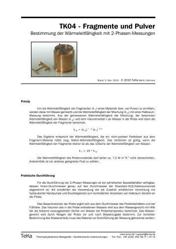 Messungen an Fragmenten und Pulver
