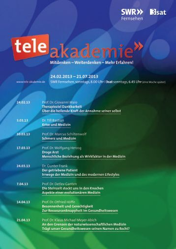 Das Programm 1. Halbjahr 13 als PDF-Download - Tele-Akademie