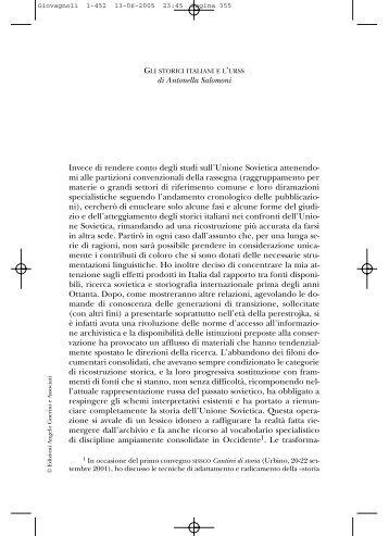 gli storici italiani e l'urss - Società Italiana per lo Studio della Storia ...