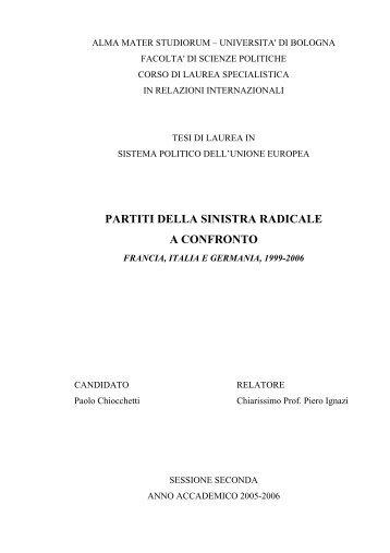 Partiti della sinistra radicale europea a confronto - Paolo Chiocchetti ...