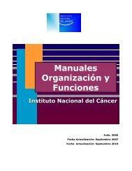 Manuales Organización y Funciones - Instituto Nacional del Cáncer