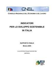 CNEL-Indicatori per lo sviluppo sostenibile in Italia - Ministero dell ...
