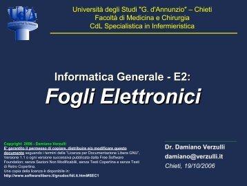 Foglio Elettronico - Parte 1 - Università Gabriele d'Annunzio