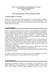 Linee programmatiche del Prof. Emanuele Scribano - Medicina e ...