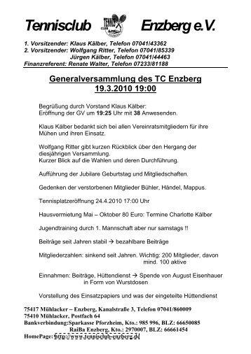 Tennisclub Enzberg e.V. - des TC Enzberg