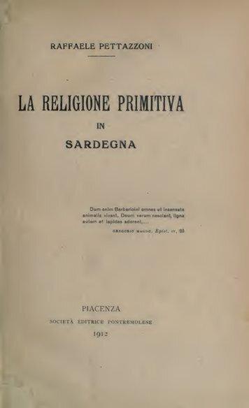 La religione primitiva in Sardegna - Centrostudirpinia.it