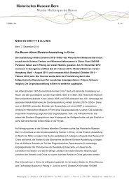 Die Berner Albert Einstein-Ausstellung in China - Bern, Historisches ...