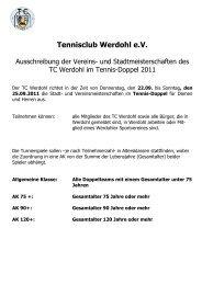 Tennis-Ausschreibung Doppel 2011 - Tennisclub-Werdohl eV