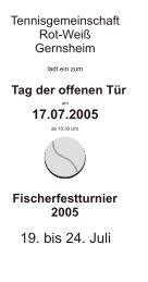19. bis 24. Juli - TG Rot-Weiß Gernsheim