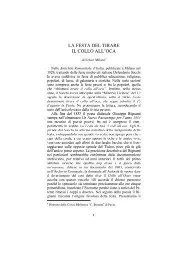 LA FESTA DEL TIRARE IL COLLO ALL'OCA - Liutprand
