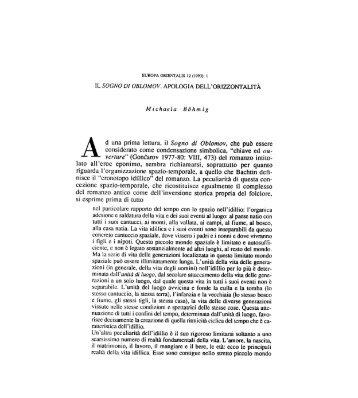 IL SOGNO DI OBLOMOV. APOLOGIA DELL ... - Europa Orientalis