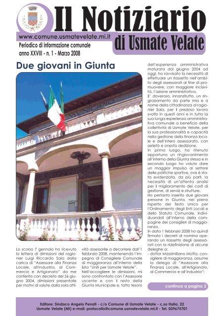 N 1 Marzo 2008 Comune Di Usmate Velate