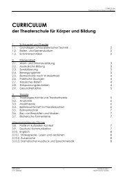 CURRICULUM - Schauspielschule Frankfurt