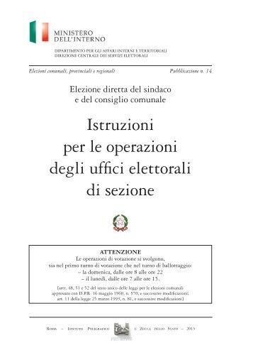Istruzioni per le operazioni degli uffici elettorali di sezione