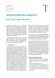 Arbitration Newsletter Switzerland Gert Thys' longest Marathon