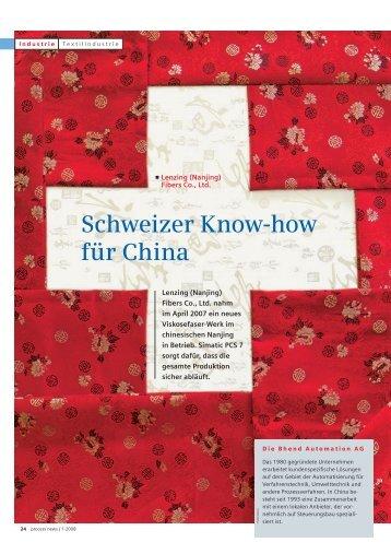 Schweizer Know-how für China - Bhend Automation AG