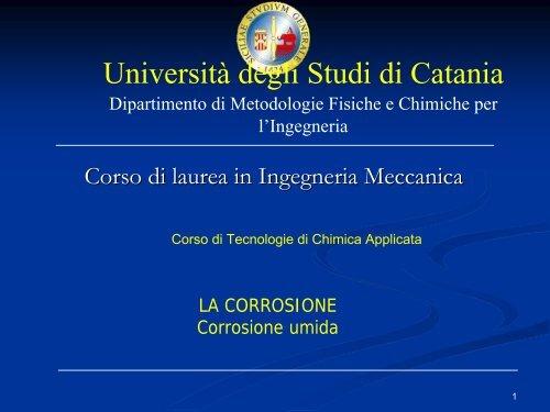 Corrosione Dmfci Università Degli Studi Di Catania