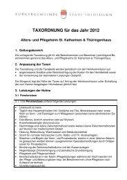 TAXORDNUNG für das Jahr 2012 Alters - Bürgergemeinde Stadt ...