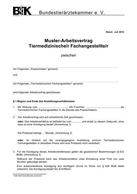 Bundestierärztekammer E V Muster Arbeitsvertrag