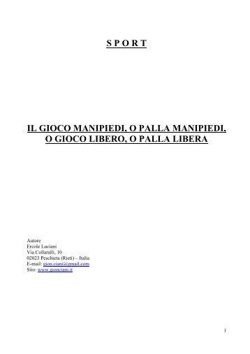 IL GIOCO MANIPIEDI - Gion Ciani