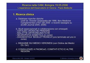 Ricerca nelle CAM, Bologna 19.05.2006 1. Ricerca ... - Paolobellavite