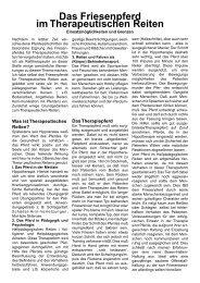 Das Friesenpferd im Therapeutischen Reiten - bei Therapiepferd.de