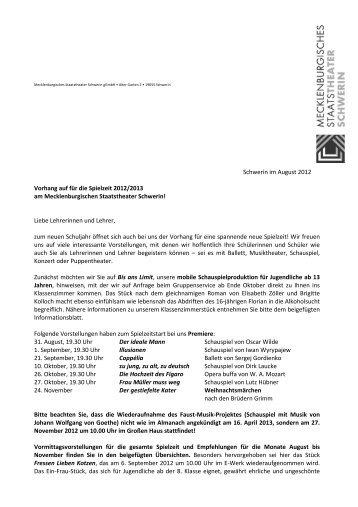Lehrerbrief August_12 - Mecklenburgisches Staatstheater Schwerin
