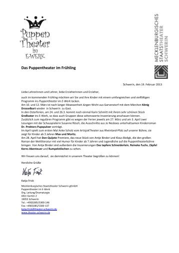Lehrerbrief Puppentheater - Mecklenburgisches Staatstheater ...
