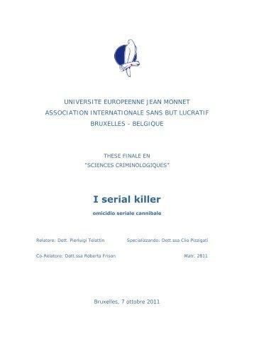 I serial killer - Omicidio seriale cannibale - Istituto Meme S.r.l.