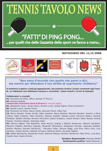 Notiziario - Tennistavolo Gallarate