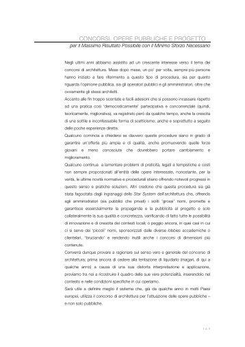 concorsi, opere pubbliche e progetto 2003 - ZERO-OFFICE Andrea ...