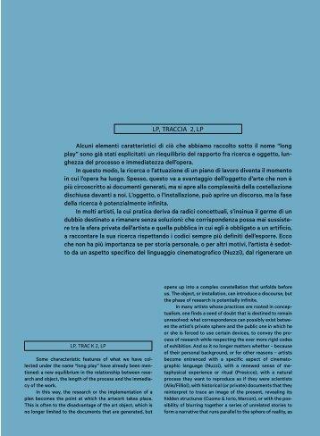 LP, TRACCIA 2, LP Alcuni elementi caratteristici di ciò che abbiamo ...