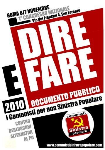 Documento Congressuale - COMUNISTI SINISTRA POPOLARE ...